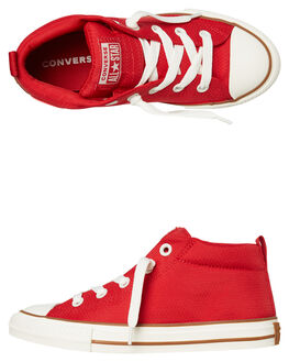 ENAMEL RED KIDS BOYS CONVERSE HI TOPS - 663592ERED
