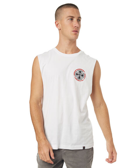 WHITE MENS CLOTHING INDEPENDENT SINGLETS - IN-MTD7158WHT