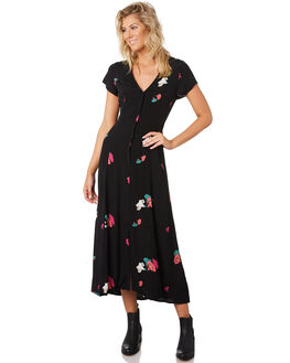 BLACK FLORAL WOMENS CLOTHING ROLLAS DRESSES - 12960-100