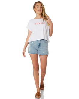 WHITE WOMENS CLOTHING ALL ABOUT EVE TEES - 6426139WHI