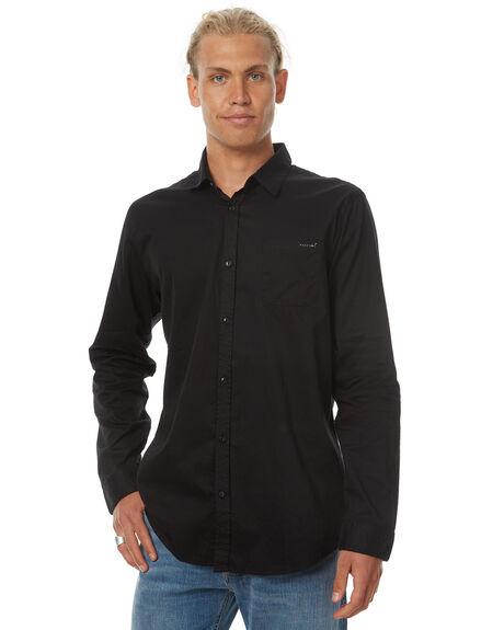 BLACK MENS CLOTHING RUSTY SHIRTS - WSM0799BLK