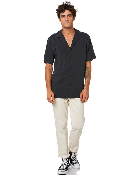 BLACK MENS CLOTHING THRILLS SHIRTS - TA21-221BBLK