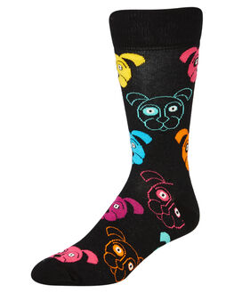 BLACK MULTI MENS CLOTHING HAPPY SOCKS SOCKS + UNDERWEAR - DOG01-9001BLK
