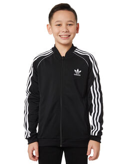 BLACK WHITE KIDS BOYS ADIDAS JUMPERS + JACKETS - DV2896BLKWH