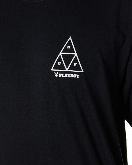 BLACK MENS CLOTHING HUF TEES - TS01462BLACK