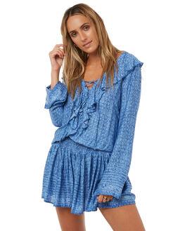 CHAMBRAY BLUE WOMENS CLOTHING RUSTY DRESSES - DRL0897CBL