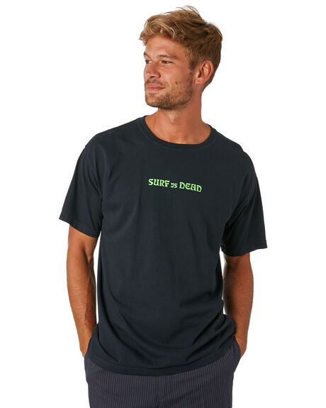 BLACK MENS CLOTHING SURF IS DEAD TEES - SD18P6-06BLK