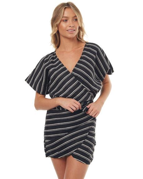 BLACK STRIPE WOMENS CLOTHING LILYA DRESSES - LND04-LSM17BLK