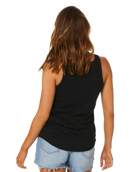 BLACK WOMENS CLOTHING RUSTY SINGLETS - TSL0582BLK