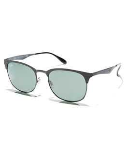 MATTE BLACK GREEN MENS ACCESSORIES RAY-BAN SUNGLASSES - 0RB35385318671
