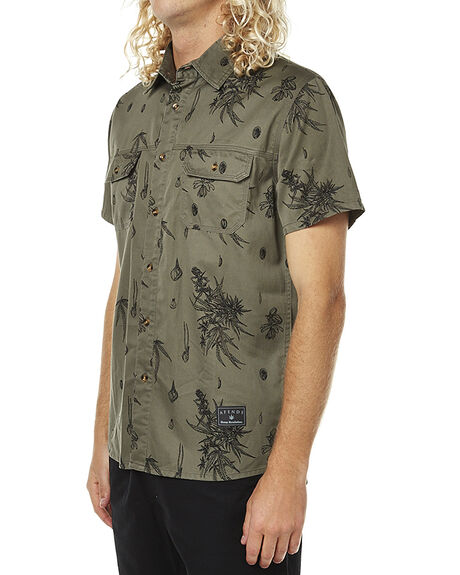 ARMY GREEN PRINT MENS CLOTHING AFENDS SHIRTS - 04-02-107ARMY