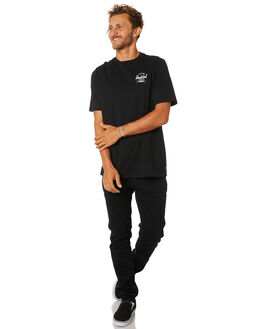 BLACK WHITE MENS CLOTHING HERSCHEL SUPPLY CO TEES - 50027-00255BLKWH