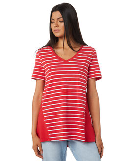 BOLD RED WHITE WOMENS CLOTHING BETTY BASICS TEES - BB228S18RED