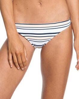 BRIGHT WHITE STRIPES WOMENS SWIMWEAR ROXY BIKINI BOTTOMS - ERJX403730-WBB3