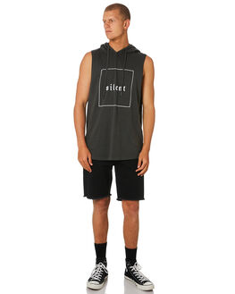 CHARCOAL MENS CLOTHING SILENT THEORY SINGLETS - 4022107.CHARCHAR