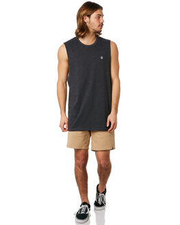 CHARCOAL HEATHER MENS CLOTHING VOLCOM SINGLETS - A3731624CHH