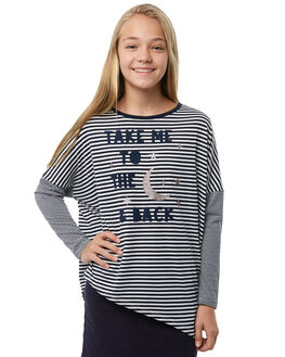 NAVY WHITE STRIPE KIDS GIRLS EVES SISTER TEES - 9910018STR