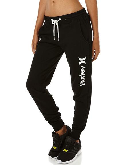 BLACK WHITE WOMENS CLOTHING HURLEY PANTS - AGPTOCUF00A