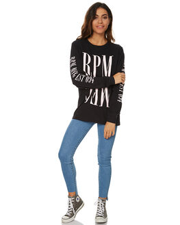 BLACK WOMENS CLOTHING RPM TEES - 7WWT03CBLK