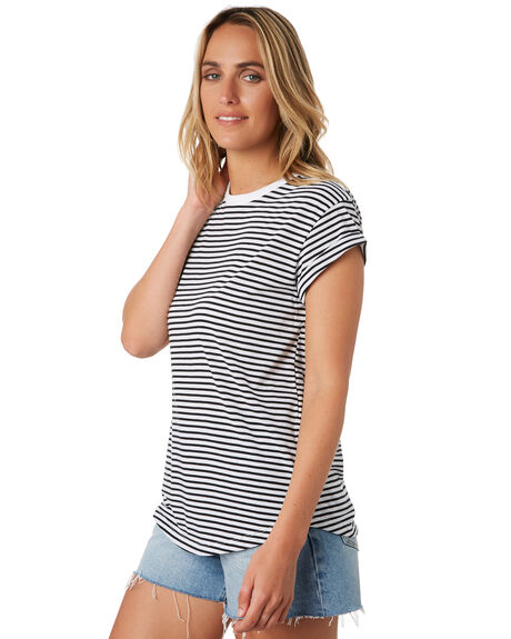 BLACK WHITE WOMENS CLOTHING RIP CURL TEES - GTENZ10431