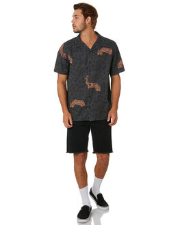 BLACK MENS CLOTHING THRILLS SHIRTS - TA20-223BBLK