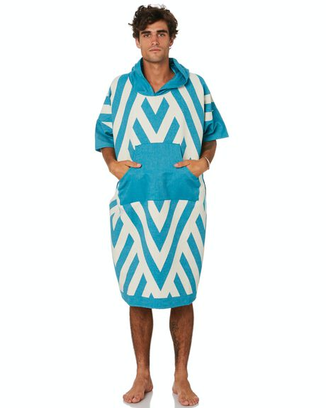 TURQUOISE MENS ACCESSORIES BLEM BEACH ACCESSORIES TOWELS - ZIGZAGTURQPONCHL
