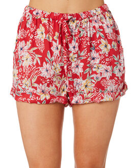 RED FLORAL WOMENS CLOTHING O'NEILL SHORTS - 4821701RFL
