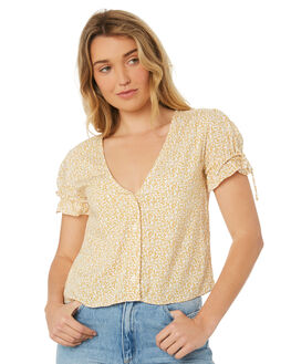 YELLOW FLORAL OUTLET WOMENS RUE STIIC FASHION TOPS - WS18-28-YF-PYEL