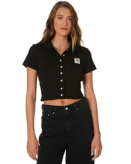 BLACK WOMENS CLOTHING STUSSY TEES - ST191114BLK