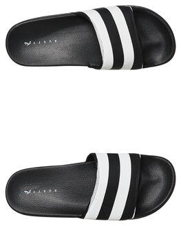 BLACK STRIPE MENS FOOTWEAR RUSTY SLIDES - FOM0340BKSMS