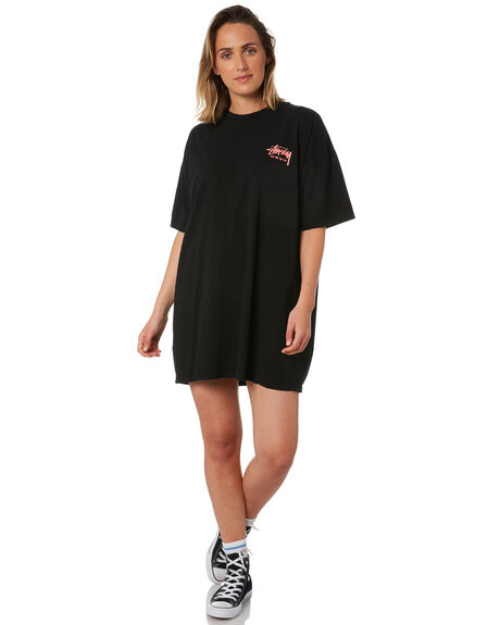 BLACK WOMENS CLOTHING STUSSY DRESSES - ST102009BLK