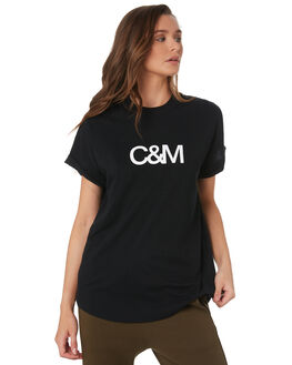 BLACK W WHITE WOMENS CLOTHING C&M CAMILLA AND MARC TEES - VCMT7050BLK