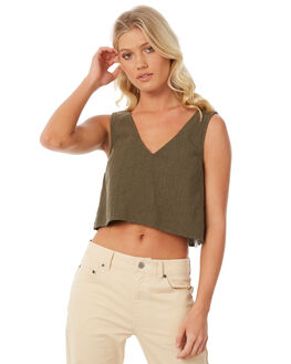 OLIVE OUTLET WOMENS RVCA FASHION TOPS - R281184OL1