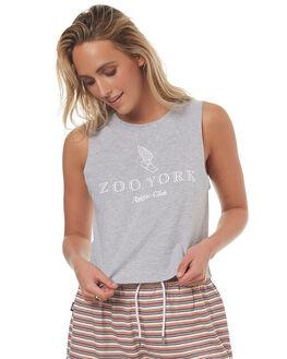 GREY HEATHER WOMENS CLOTHING ZOO YORK SINGLETS - ZY-WTD7276GREYH