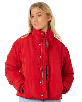 CHERRY RED WOMENS CLOTHING RVCA JACKETS - R283436CHERRY