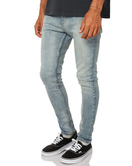 WASHED INDIGO MENS CLOTHING AFENDS JEANS - 12-01-050WSHIN