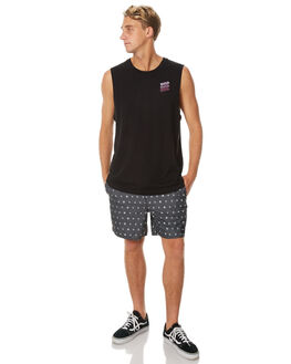 BLACK MENS CLOTHING RVCA SINGLETS - R171008BLK
