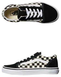 BLACK WHITE KIDS BOYS VANS SNEAKERS - VNA38HBPOSBLK