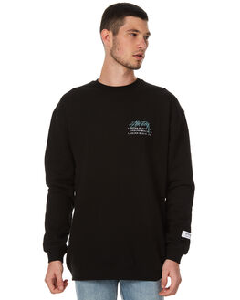 BLACK MENS CLOTHING STUSSY JUMPERS - ST076206BLK