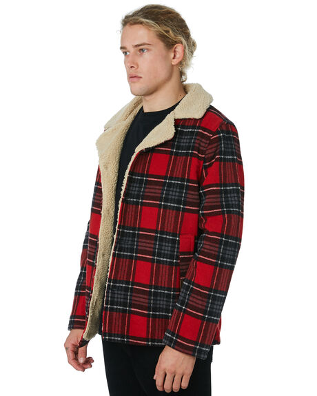 RED CHECK MENS CLOTHING WRANGLER JACKETS - 901558J04