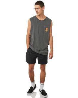 BLACK MENS CLOTHING RVCA SINGLETS - R181009BLK
