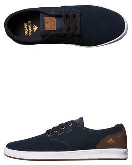 NAVY BROWN MENS FOOTWEAR EMERICA SKATE SHOES - 6102000089-464