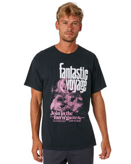 BLACK MENS CLOTHING SURF IS DEAD TEES - SD18P6-03BLK