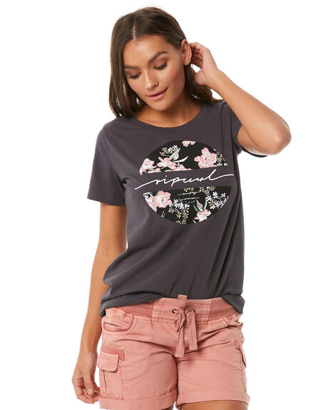 DARK GREY WOMENS CLOTHING RIP CURL TEES - GTEVU11221