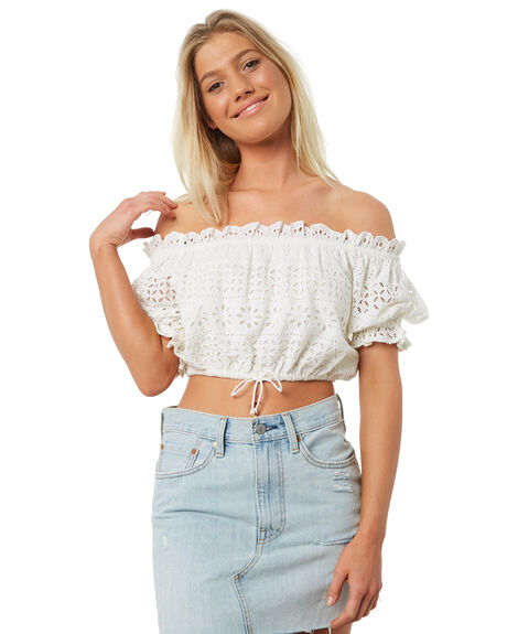 WHITE OUTLET WOMENS TIGERLILY FASHION TOPS - T381047WHT