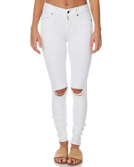 WHITE RIPPED KNEES WOMENS CLOTHING DR DENIM JEANS - 1510111WHR