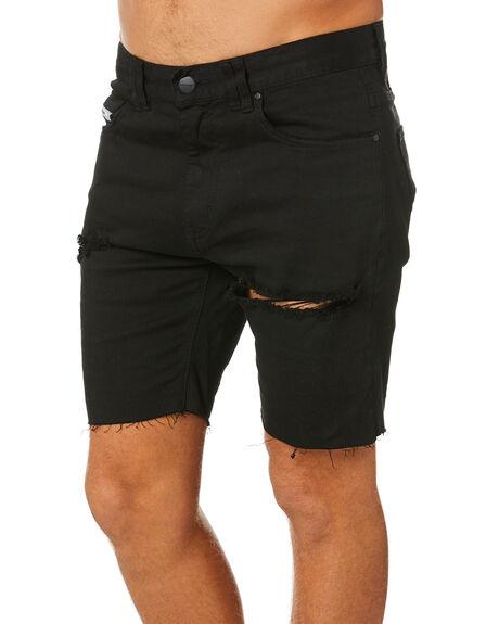 DESTROYED JET BLACK MENS CLOTHING NENA AND PASADENA SHORTS - NPMRAWS002DEJB