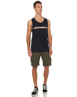 BLACK MENS CLOTHING INDEPENDENT SINGLETS - IN-MTC7161BLK