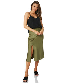 OLIVE WOMENS CLOTHING LULU AND ROSE SKIRTS - LU23801OLIVE