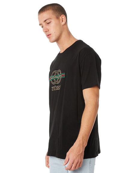 BLACK MENS CLOTHING STUSSY TEES - ST086004BLK